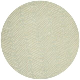 Martha Stewart by Safavieh Chevron Leaves Milk Pail Green / Green Wool / Viscose Area Rug (6' Round)