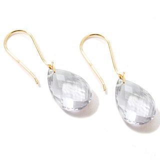 """Yellow Gold over Silver Gemstone Drop & Dangle Earring  1.25""""L"""