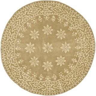 Martha Stewart by Safavieh Gracious Garden Spud / Camel Wool Area Rug (8' Round)