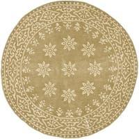 Martha Stewart by Safavieh Gracious Garden Spud / Camel Wool Area Rug - 8' x 8' Round