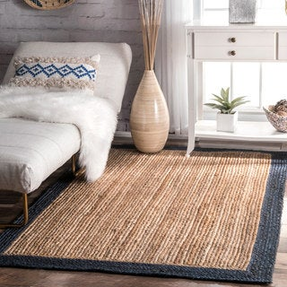nuLOOM Alexa Eco Natural Fiber Braided Reversible Border Jute Navy Rug (3' x 5')