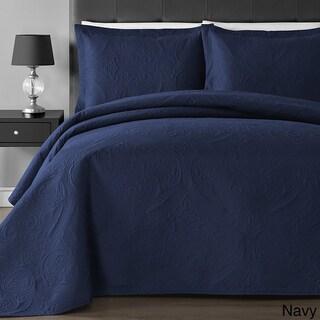 Comfy Bedding Floral Thermal Pressing 3-piece Oversized Coverlet Set
