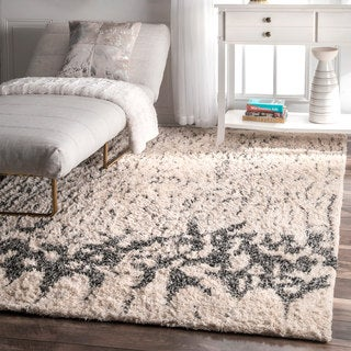 nuLOOM Contemporary Abstract Cotton Shag Ivory Rug (4' x6')