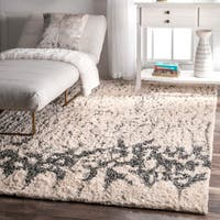 nuLOOM Contemporary Abstract Cotton Shag Ivory Rug - 4' x6'