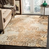 Martha Stewart by Safavieh Palm Leaf Spud / Brown / Beige Wool Area Rug - 9' x 12'