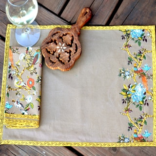Handmade Bird Symphony Napkin (Set of 6) (India)