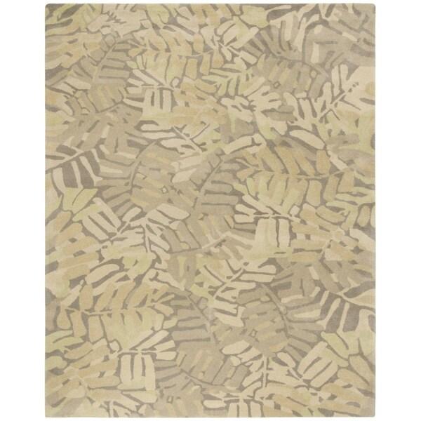 shop martha stewart by safavieh palm leaf oolong tea beige yellow wool area rug 9 39 x 12. Black Bedroom Furniture Sets. Home Design Ideas