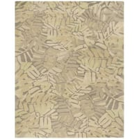 Martha Stewart by Safavieh Palm Leaf Oolong Tea / Beige / Yellow Wool Area Rug - 9' x 12'