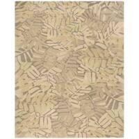 Martha Stewart by Safavieh Palm Leaf Oolong Tea / Beige / Yellow Wool Area Rug - 8' x 10'