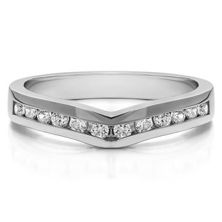 14k Gold Classic Contour Wedding Ring mounted with Cubic Zirconia (0.33 Cts. twt)