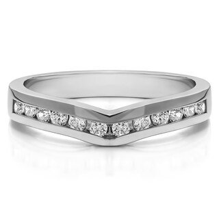 14k Gold Classic Contour Wedding Ring mounted with Cubic Zirconia (1 Cts. twt)