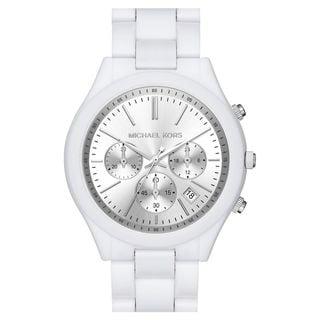 Michael Kors Women's MK6254 'Slim Runway' Chronograph White Acetate Watch
