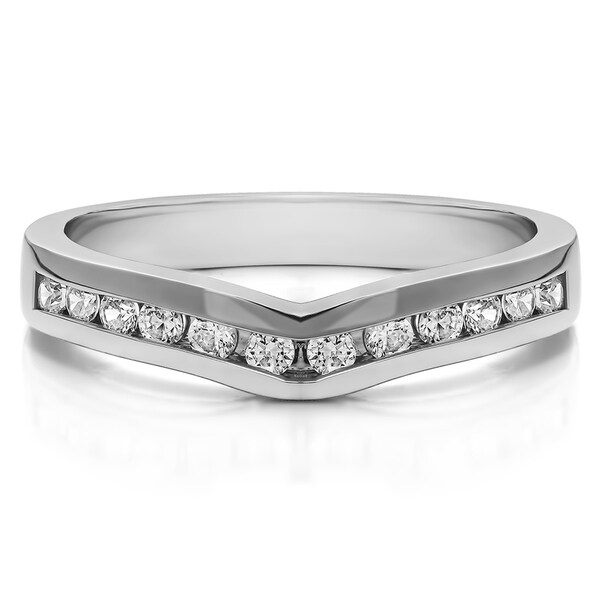 Platinum Classic Contour Wedding Ring mounted with Diamonds (G-H, SI2-I1) (0.1 Cts. twt)