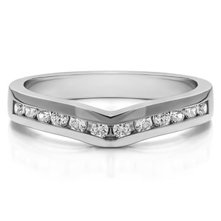 Platinum Classic Contour Wedding Ring mounted with Diamonds (G-H, SI2-I1) (0.15 Cts. twt)