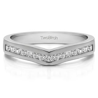 Platinum Classic Contour Wedding Ring mounted with Diamonds (G-H, SI2-I1) (0.5 Cts. twt)
