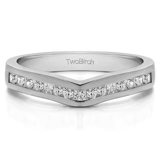 Platinum Classic Contour Wedding Ring mounted with Diamonds (G-H, SI2-I1) (1 Cts. twt)|https://ak1.ostkcdn.com/images/products/15908265/P22312332.jpg?impolicy=medium