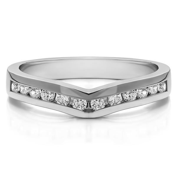 Sterling Silver Classic Contour Wedding Ring mounted with Cubic Zirconia (0.1 Cts. twt)