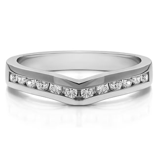 Sterling Silver Classic Contour Wedding Ring mounted with Diamonds (G-H, I2-I3) (0.1 Cts. twt)