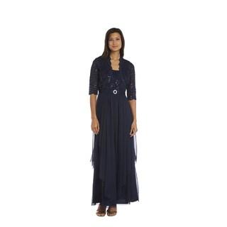R & M Richards Women's Navy Blue Lace Jacket Dress