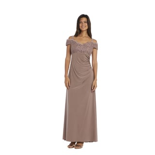 R & M Richards Women's Mocha Lace Evening Gown