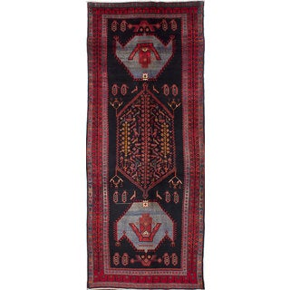 ecarpetgallery Zanjan Black, Red Wool Rug (4'9 x 12'1)