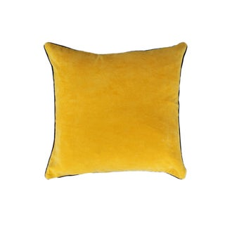 A1HC Handcrafted Yellow Solid Velvet Feather and Down Filled 20-inch Throw Pillows with Piping
