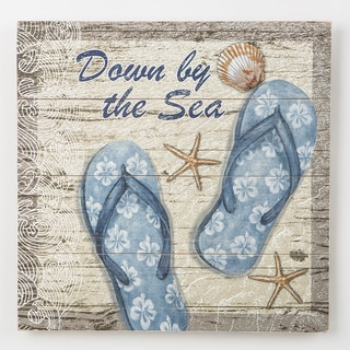 Down by the Sea, Blue Flip Flops - Wood Wall Plaque