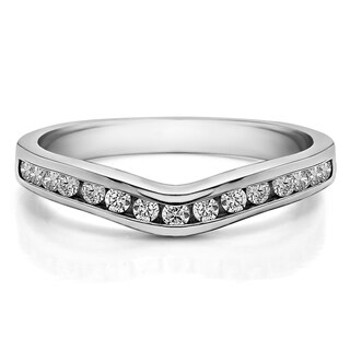 Sterling Silver Traditional Style Curved Wedding Tracer Ring mounted with Cubic Zirconia (0.15 Cts. twt) (More options available)