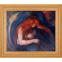 Edvard Munch 'Vampire, 1895' Hand Painted Framed Oil Reproduction on Canvas