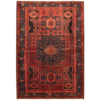 Handmade Herat Oriental Persian Hamadan Wool Rug (Iran) - 4'8 x 6'9