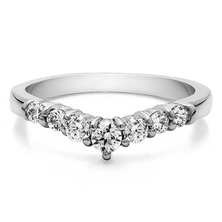 Sterling Silver Chevron Classic Contour Wedding Ring mounted with White Sapphire (0.33 Cts. twt)