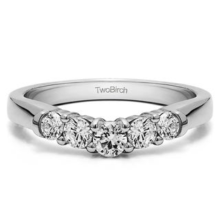 14k Gold Perfectly Contoured Wedding Ring mounted with Diamonds (G-H, SI2-I1) (0.25 Cts. twt)