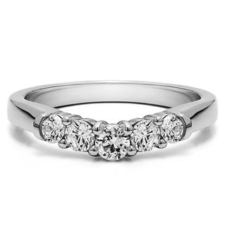 14K Gold Perfectly Contoured Wedding Ring mounted with White Sapphire (0.19 Cts. twt)