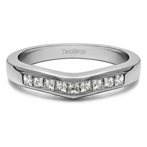 Platinum Gently Contoured Tracer Band mounted with Diamonds (G-H, SI2-I1) (0.5 Cts. twt)