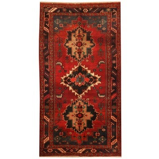 Herat Oriental Persian Hand-knotted Mahal Wool Rug (3'10 x 7'2)