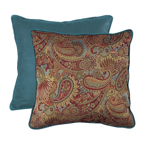 HiEnd Accents Paisley Euro Sham With Contrasting Teal Piping And Back