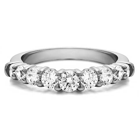 Platinum Delicate Classic Curved Shadow Band mounted with Diamonds (G-H, SI2-I1) (0.18 Cts. twt)