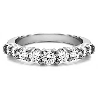 Sterling Silver Delicate Classic Curved Shadow Band mounted with Cubic Zirconia (0.18 Cts. twt)|https://ak1.ostkcdn.com/images/products/15909025/P22312786.jpg?impolicy=medium