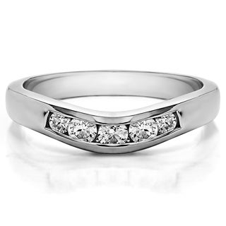 14k Gold Classic Style Curved Wedding Ring Guard mounted with Diamonds (G-H, I2-I3) (0.42 Cts. twt)