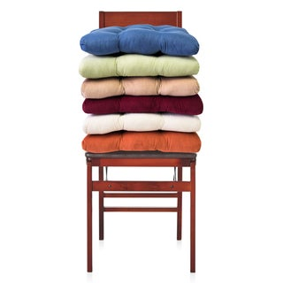"2 Piece Corduroy Chair Pad With Tiebacks (16""x16"") Assorted Colors (Set of 2)"