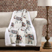 Lush Decor Hati Elephants Sherpa Throw