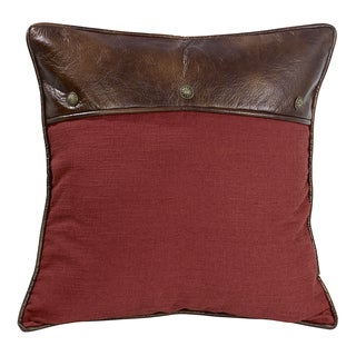 HiEnd Accents Red Euro Pillow With Faux Leather And Conchos
