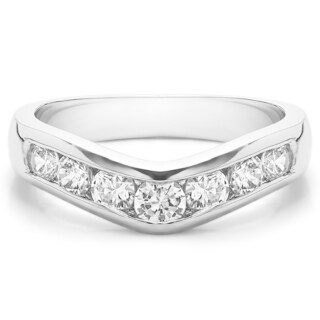 Sterling Silver Traditional Style Contour Wedding Band mounted with Diamonds (G-H, I2-I3) (0.75 Cts. twt)