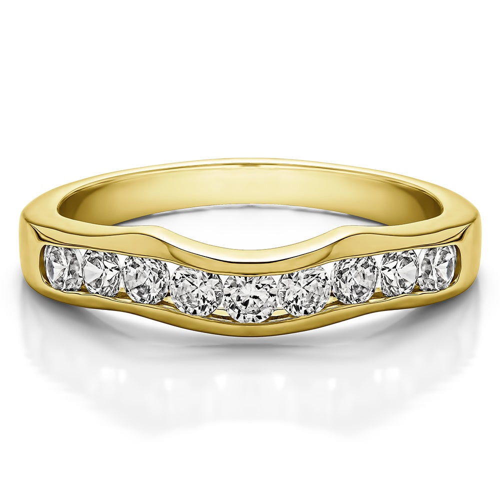 10kgoldclassiccontourstyleweddingbandmounted: Cubic Zirconia Curved Wedding Band At Reisefeber.org