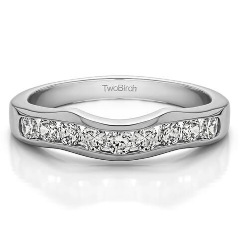 14k Gold Classic Contour Style Wedding Band mounted with Diamonds (G-H, I2-I3) (0.5 Cts. twt)