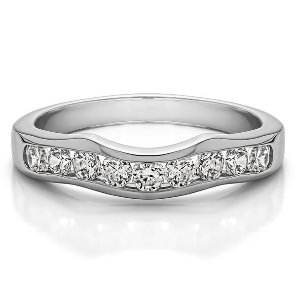 Platinum Classic Contour Style Wedding Band mounted with Diamonds (G-H, SI2-I1) (0.5 Cts. twt)