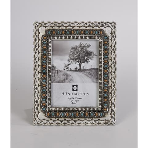 HiEnd Accents Turquoise And Amber Jeweled Frame 5 X 7