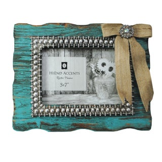 HiEnd Accents Turquoise Frame With Burlap Bow