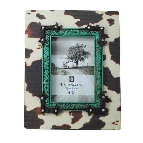 HiEnd Accents Cowhide Frame with Turquoise Trim 8 x 10