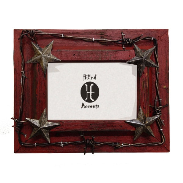 HiEnd Accents Painted Distressed Wood W/Barbwire & Stars (Ea)